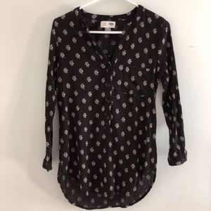 Black microprint Tunic/Blouse